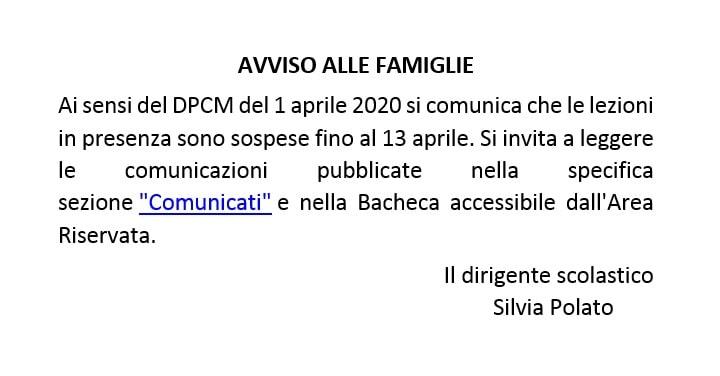 Informazioni sulla chiusra fino al 13 aprile secondo DPCM del 01/04/2020