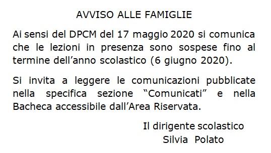 Informazioni sulla sospensione delle lezioni in presenzafino al termine delle lezioni secondo il DPCM del 17/05/2020